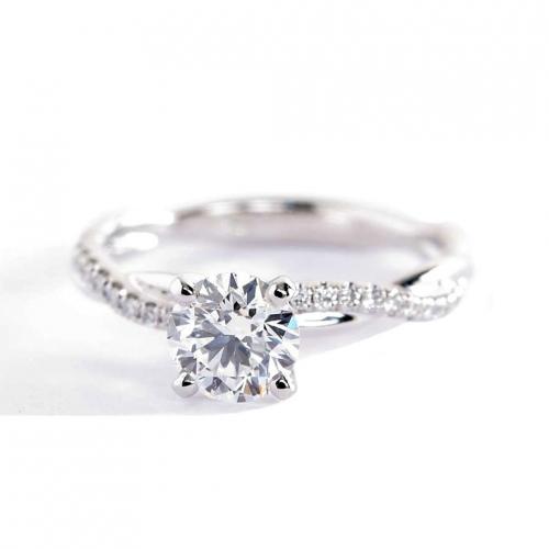 0.65 Carat SI2 F Twist Shank Round Cut Diamond Engagement Ring 18K White Gold
