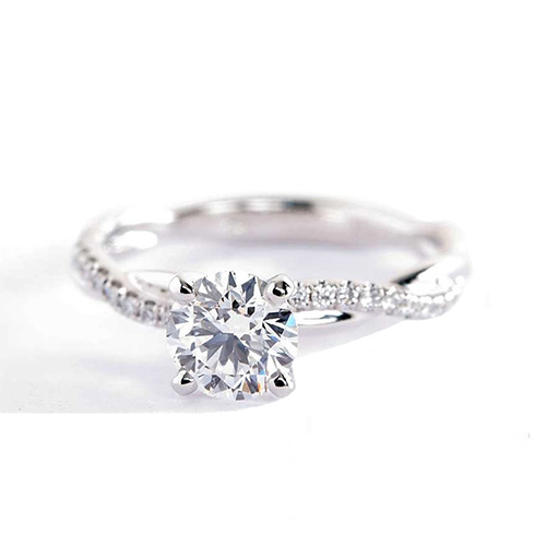 0.65 Carat VS2 H Twist Shank Round Cut Diamond Engagement Ring 18K White Gold