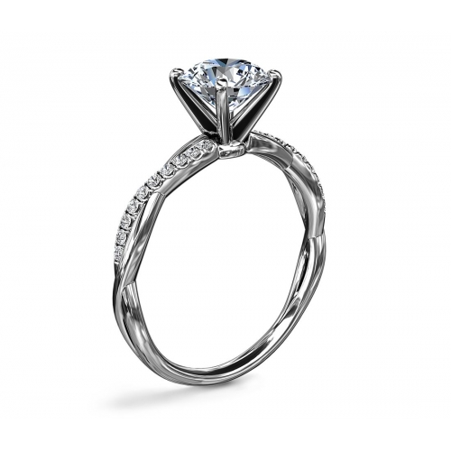 1.65 Carats SI2 D Twist Shank Round Cut Diamond Engagement Ring 18K White Gold