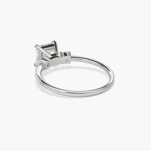 1.40 Cts VS2 H 3 Stone Look Princess Cut Diamond Engagement Ring 18K White Gold