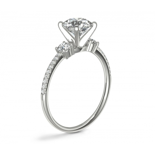 1.40 Carats SI2 F 3 Stone Look Round Cut Diamond Engagement Ring 18K White Gold