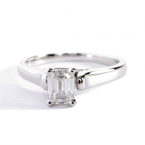 GIA 0.75 Ct VS2 H Vintage Milgrain Emerald Diamond Engagement Ring Platinum