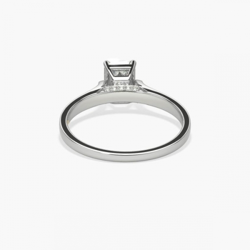 1.05 Cts SI1 H Chathedral Emerald Cut Diamond Engagement Ring 18K White Gold