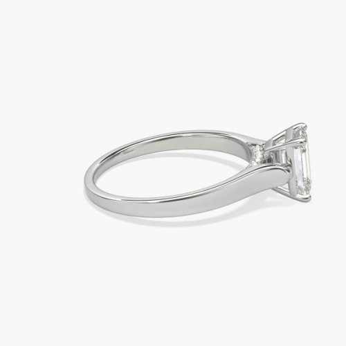 1.05 Cts VS2 F Chathedral Emerald Cut Diamond Engagement Ring 18K White Gold
