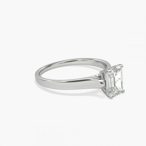 0.95 Ct SI1 F Chathedral Emerald Cut Diamond Engagement Ring 18K White Gold