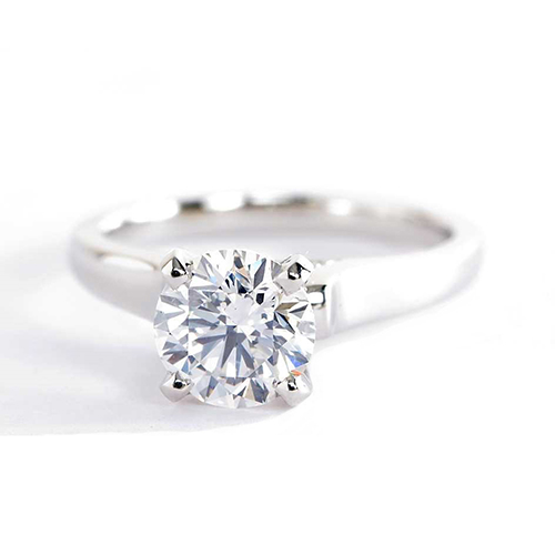 0.95 Ct SI2 F Vintage Milgrain Round Cut Diamond Engagement Ring 18K White Gold