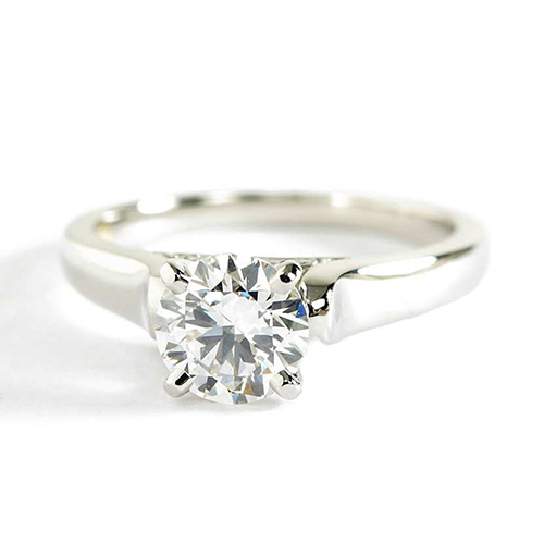0.75 Ct SI2 H Vintage Milgrain Round Cut Diamond Engagement Ring 18K White Gold