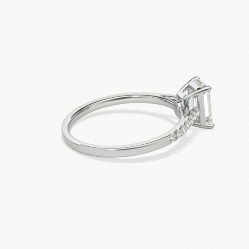 1.10 Carats SI2 F Petite Round Cut Diamond Engagement Ring Platinum