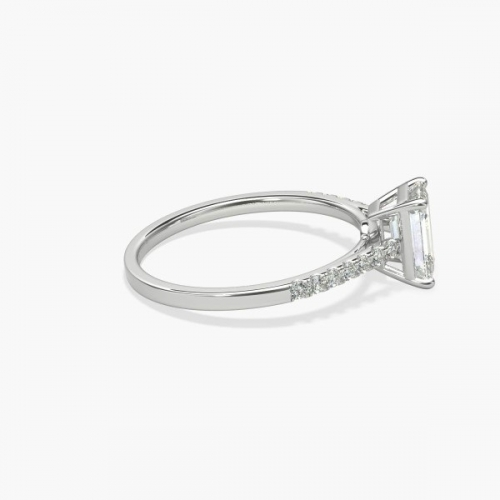 0.70 Carat VS2 F Petite Emerald Cut Diamond Engagement Ring 18K White Gold