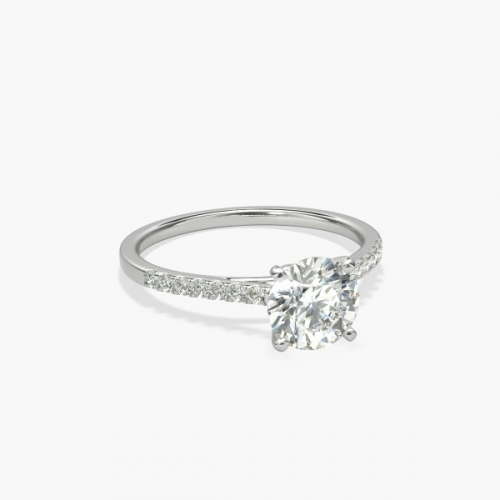 1.10 Carats VS2 D Petite Round Cut Diamond Engagement Ring Platinum