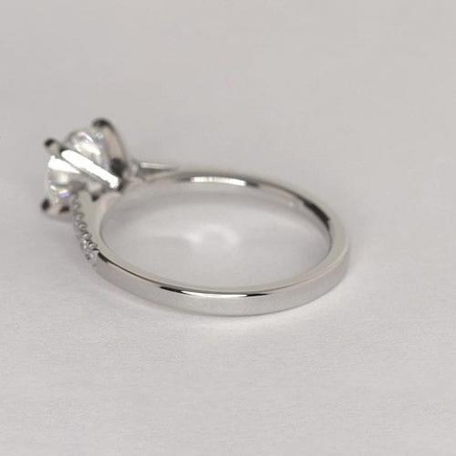 1.20 Carats VS2 F Petite Round Cut Diamond Engagement Ring 18K White Gold