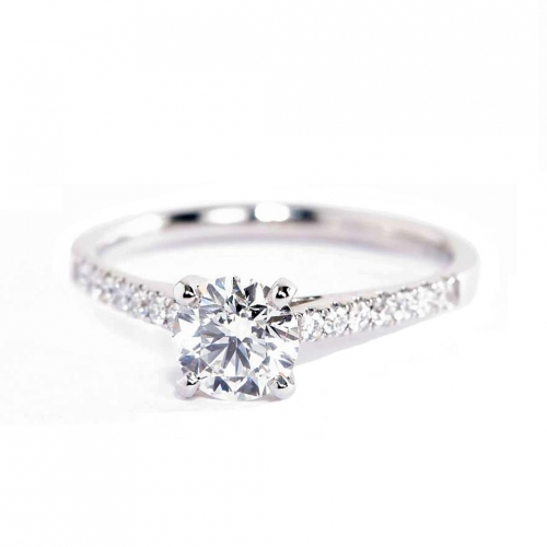 GIA Certified 0.70 Ct VS2 F Petite Round Diamond Engagement Ring 18K White Gold