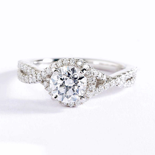 0.90 Ct SI2 F Split Shank Halo Round Cut Diamond Engagement Ring 18K White Gold