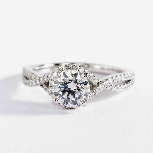 GIA1.10 Cts SI2 D Split Shank Halo RoundDiamond Engagement Ring 18K White Gold