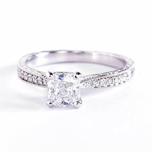 0.90 Carat SI2 D Vintage Look Cushion Cut Diamond Engagement Ring 18K White Gold