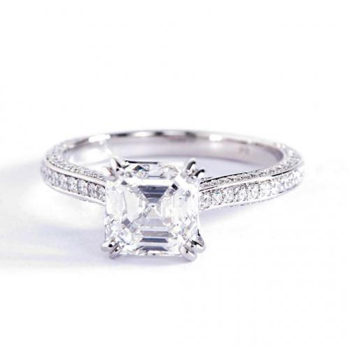 1.60 Carats VS2 F 3 Row Asscher Cut Diamond Engagement Ring 18K White Gold