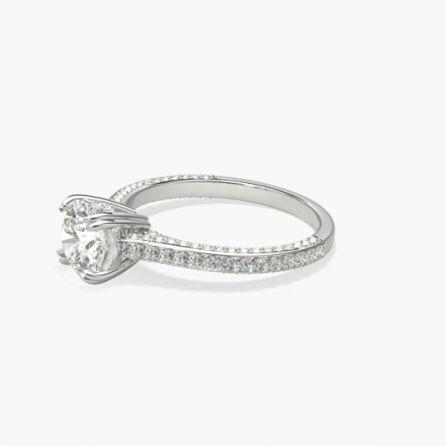 1.50 Carats SI2 F 3 Row Round Cut Diamond Engagement Ring 18K White Gold