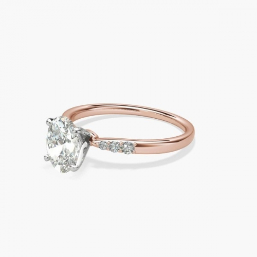 0.80 Carat SI2 D Petite Oval Cut Diamond Engagement Ring 18K Rose Gold