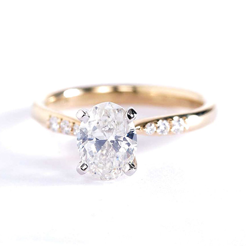 0.80 Carat SI2 D Petite Oval Cut Diamond Engagement Ring 18K White Gold