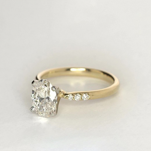 0.80 Carat SI2 D Petite Oval Cut Diamond Engagement Ring 18K Yellow Gold