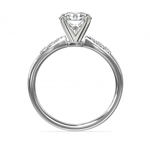 GIA Certified 0.60 Ct SI2 F Petite Round Cut Diamond Engagement Ring Platinum
