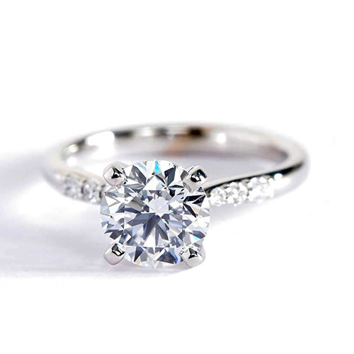 1.00 Carat SI2 D Petite Round Cut Diamond Engagement Ring Platinum