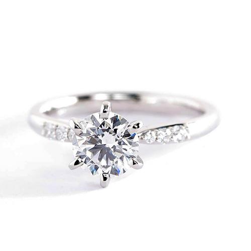 GIA Certified 0.60 Carat SI2 F Petite Round Diamond Engagement Ring Platinum