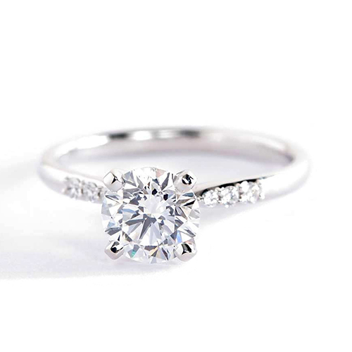 0.80 Carat SI2 F Petite Round Cut Diamond Engagement Ring Platinum