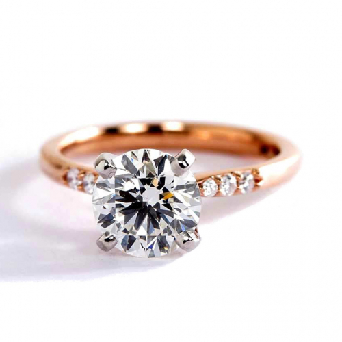 1.60 Carats SI2 D Petite Round Cut Diamond Engagement Ring 18K Rose Gold