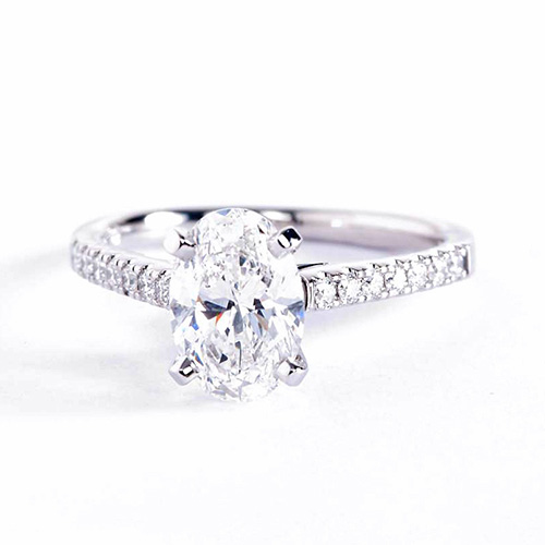 1.10 Carats SI2 D Micro Pave Oval Cut Diamond Engagement Ring 18K White Gold