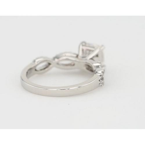 1.30 Carats SI2 F Twist Shank Cushion Cut Diamond Engagement Ring 18K White Gold