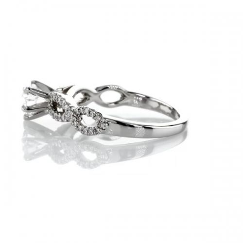 0.80 Carat SI2 D Twist Shank Heart Cut Diamond Engagement Ring 18K White Gold