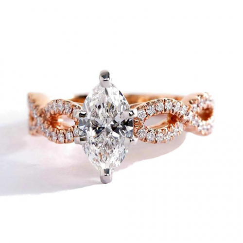 1.30 Carats SI2 D Twist Shank Marquise Cut Diamond Engagement Ring 18K Rose Gold
