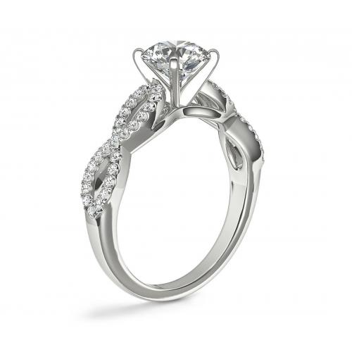 1.00 Carat SI2 F Twist Shank Oval Cut Diamond Engagement Ring 18K White Gold