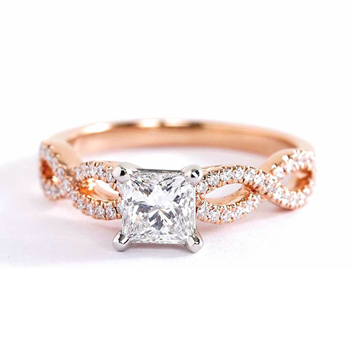 GIA 0.80 Ct VS2 F Twist Shank Princess Diamond Engagement Ring 18K Rose Gold