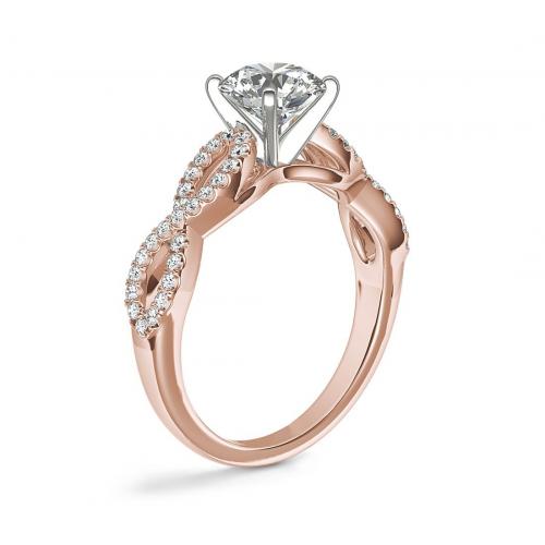 GIA 0.80 Ct VS2 F Twist Shank Princess Diamond Engagement Ring 18K Rose Gold