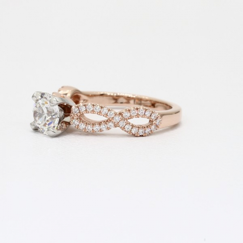 1.30 Carats SI2 D Twist Shank Round Cut Diamond Engagement Ring 18K Rose Gold