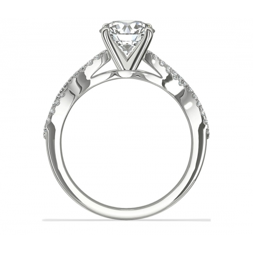 1.00 Carat SI2 F Twist Shank Round Cut Diamond Engagement Ring 18K White Gold