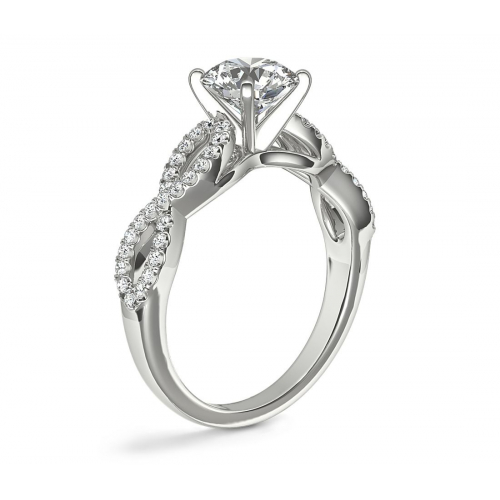 1.30 Carats SI2 D Twist Shank Round Cut Diamond Engagement Ring 18K White Gold
