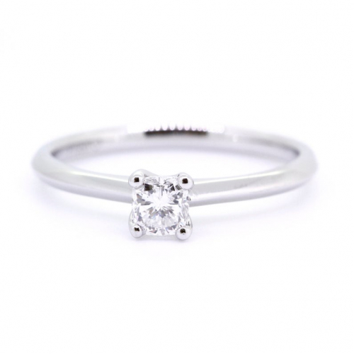 1/2 Carat Cushion Cut Natural Diamond Solitaire Engagement Ring In 18K White Gold