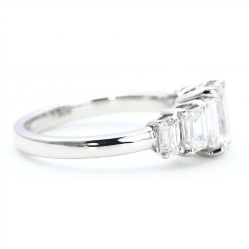 GIA Certified 2.00 Carats VS2 E Five Stone Emerald Cut Diamond Engagement Ring Platinum