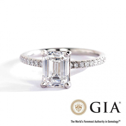 GIA Certified 1.16 Cts SI1 G Riviera Emerald Diamond Engagement Ring 18K White Gold