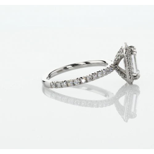 GIA Certified 1.50 Cts VS2 D Emerald Double Prongs Halo Diamond Engagement Ring 18K White Gold