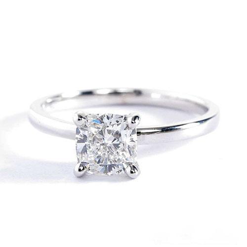 GIA Certified  1 Ct VVS2 D Comfort Fit Cushion Cut Solitaire Diamond Engagement Ring Platinum