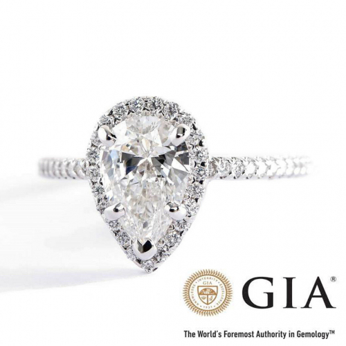 GIA Certified 1.40 Carats SI2 F French Pear Cut Diamond Engagement Ring Platinum