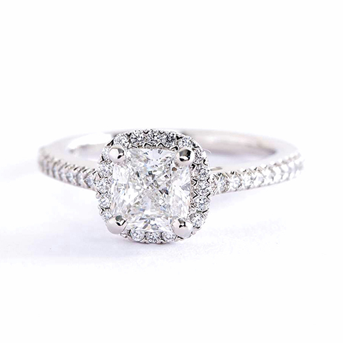 0.90 Cts SI2 F Cushion Cut Micro Pave Halo Diamond Engagement Ring Platinum