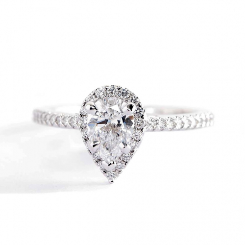 0.50 Cts SI2 D Pear Cut French Pave Halo Diamond Engagement Ring Platinum