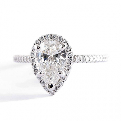 1.40 Cts SI2 F Pear Cut French Pave Halo Diamond Engagement Ring Platinum