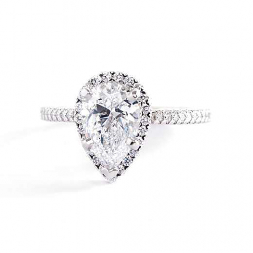 1.40 Cts SI1 F Pear Cut French Pave Halo Diamond Engagement Ring 18K White Gold