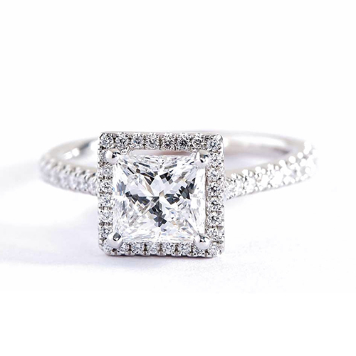 0.90 Cts VS2 F Princess Cut French Pave Halo Diamond Engagement Ring Platinum